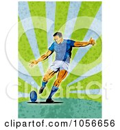 Royalty Free Clip Art Illustration Of A Retro Rugby Player Kicking On Green Grunge
