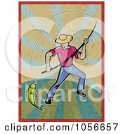 Royalty Free Clip Art Illustration Of A Fly Fisherman Pulling In A Catch On Grungy Rays
