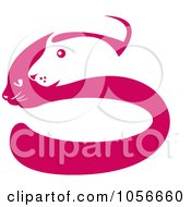 Royalty Free Clip Art Illustration Of A Pink And White Dog And Cat Face Silhouette Logo