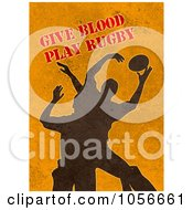 Royalty Free Clip Art Illustration Of Silhouetted Rugby Players On Orange Grunge With Text