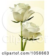 Royalty Free Vector Clip Art Illustration Of Two Ivory Roses On Beige by elaineitalia