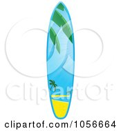 Royalty Free Vector Clip Art Illustration Of A 3d Shiny Surfboard With A Tropical Beach Scene by elaineitalia
