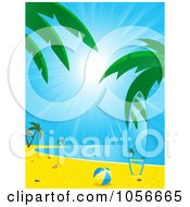 Royalty Free Vector Clip Art Illustration Of A Beach Ball And Surfboard Matching The Tropical Beach Scene by elaineitalia