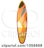 Royalty Free Vector Clip Art Illustration Of A 3d Shiny Surfboard With A Sunset Beach Scene by elaineitalia