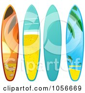 Royalty Free Vector Clip Art Illustration Of A Digital Collage Of 3d Shiny Surfboards With A Beach Scenes by elaineitalia
