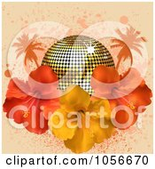 Royalty Free Vector Clip Art Illustration Of A Golden Disco Ball With 3d Hibiscus Flowers Palm Trees And Grungeon Pink