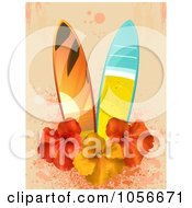 Royalty-Free Vector Clip Art Illustration of Two Beach Surfboards With Hibiscus Flowers On Pink Grunge by elaineitalia