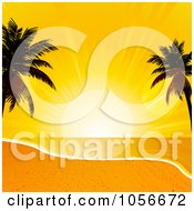 Royalty Free Vector Clip Art Illustration Of Silhouetted Palm Trees Framing A Sunset Over A Beach