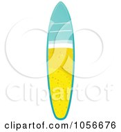 Royalty Free Vector Clip Art Illustration Of A 3d Shiny Surfboard With A Beach Scene by elaineitalia