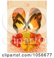 Royalty Free Vector Clip Art Illustration Of A Pair Of 3d Flip Flops With Hibiscus Flowers On Grungy Pink by elaineitalia