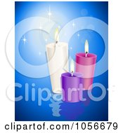 Royalty Free Vector Clip Art Illustration Of Three Thick Candles On Blue Water Over Blue