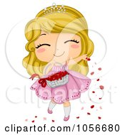 Royalty Free Vector Clip Art Illustration Of A Cute Flower Girl Tossing Rose Petals by BNP Design Studio