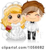 Royalty Free Vector Clip Art Illustration Of A Cute Kid Wedding Couple by BNP Design Studio #COLLC1056682-0148
