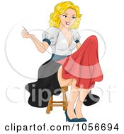 Royalty Free Vector Clip Art Illustration Of A Sexy Blond Pinup Woman Sewing