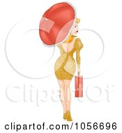 Sexy Retro Pinup Woman Walking With A Briefcase And Parasol Looking Back