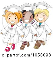 Royalty Free Vector Clip Art Illustration Of Three Diverse Graduate Kids Walking