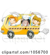 Royalty Free Vector Clip Art Illustration Of Graduate Kids Riding In A Bus by BNP Design Studio