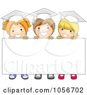 Royalty Free Vector Clip Art Illustration Of Three Graduate Kids Holding Up A Blank Sign