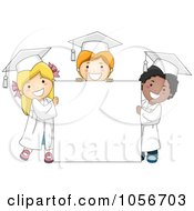 Royalty Free Vector Clip Art Illustration Of Three Graduate Kids Standing Around A Blank Sign
