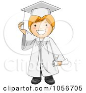 Royalty Free Vector Clip Art Illustration Of A Graduate Boy Touching His Tassel