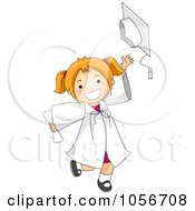 Royalty Free Vector Clip Art Illustration Of A Little Graduate Girl Tossing Her Cap