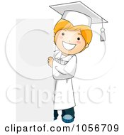 Royalty Free Vector Clip Art Illustration Of A Graduate Boy Standing By A Blank Sign