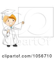 Royalty Free Vector Clip Art Illustration Of A Graduate Boy Presenting A Blank Sign