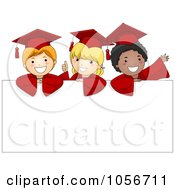 Royalty Free Vector Clip Art Illustration Of Three Graduate Children Over A Blank Sign