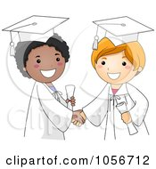 Royalty Free Vector Clip Art Illustration Of Two Graduate Boys Shaking Hands