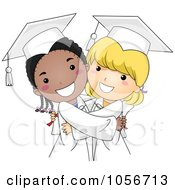 Royalty Free Vector Clip Art Illustration Of Cute Graduate Girls Hugging