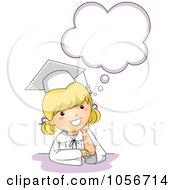 Royalty Free Vector Clip Art Illustration Of A Cute Graduation Girl Thinking