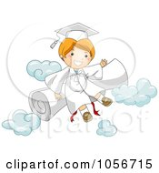 Royalty Free Vector Clip Art Illustration Of A Graduate Boy With A Diploma And Clouds