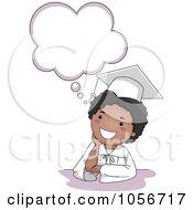 Royalty Free Vector Clip Art Illustration Of A Black Graduate Boy Thinking