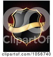 Royalty Free Vector Clip Art Illustration Of A 3d Gold Banner Over A Black Shield On Dark Red