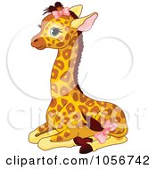 Cute Baby Female Giraffe Sitting And Wearing Pink Bows