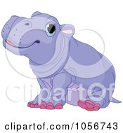 Royalty Free Vector Clip Art Illustration Of A Cute Baby Male Hippo by Pushkin