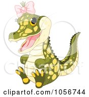 Royalty Free Vector Clip Art Illustration Of A Cute Baby Female Alligator Wearing A Pink Bow