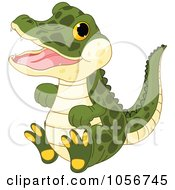 Royalty Free Vector Clip Art Illustration Of A Cute Baby Male Alligator by Pushkin
