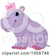 Royalty Free Vector Clip Art Illustration Of A Cute Baby Female Hippo Wearing A Pink Bow by Pushkin