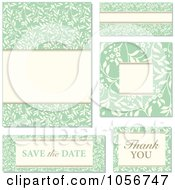 Royalty Free Vector Clip Art Illustration Of A Digital Collage Of Green Floral And Beige Invitation Design Elements 2 by BestVector