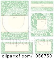 Royalty Free Vector Clip Art Illustration Of A Digital Collage Of Green Floral And Beige Invitation Design Elements 1