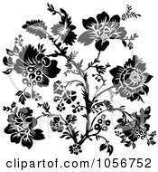 Royalty Free Vector Clip Art Illustration Of A Black And White Floral Plant In Bloom