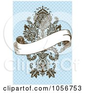 Royalty Free Vector Clip Art Illustration Of A Blank Banner Over An Ornate Victorian Design On Blue Invitation Or Background