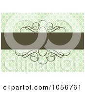 Royalty Free Vector Clip Art Illustration Of A Green Floral Diamond Patterned Invitation Or Background With Brown Horizontal Copyspace