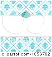 Royalty Free Vector Clip Art Illustration Of A Blue Diamond Floral Pattern Invitation Or Background With Copyspace 2