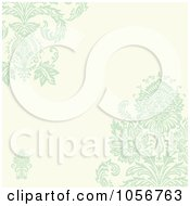 Royalty Free Vector Clip Art Illustration Of A Green Damask Floral And Beige Invitation Or Background