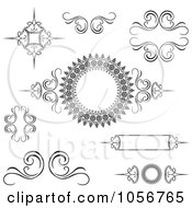 Royalty Free Vector Clip Art Illustration Of A Digital Collage Of Black And White Decorative Swirl Design Elements