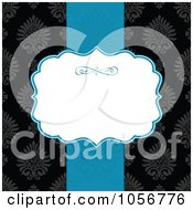 Royalty Free Vector Clip Art Illustration Of A Blue Ribbon And White Text Space Over A Black Victorian Patterned Invitation Or Background
