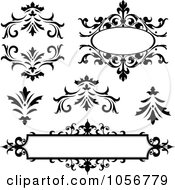 Royalty Free Vector Clip Art Illustration Of A Digital Collage Of Vintage Black And White Frames And Design Elements