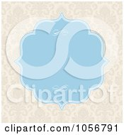 Royalty Free Vector Clip Art Illustration Of A Beige Damask Patterned Invitation Or Background With Blue Copyspace